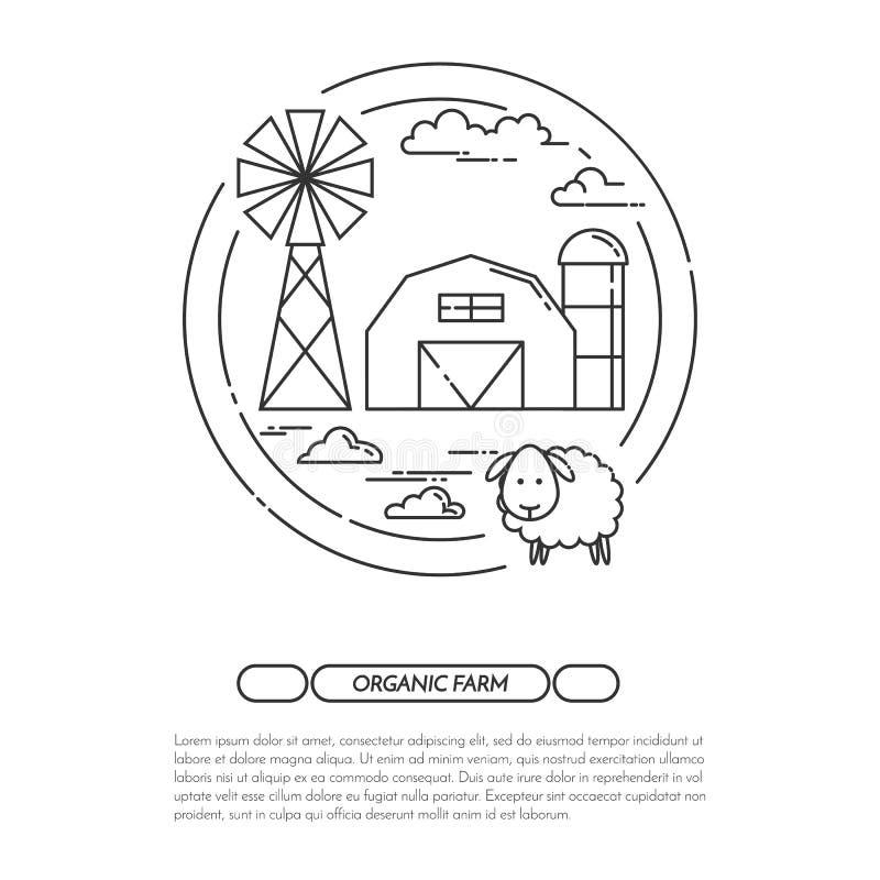 Το έμβλημα αγροικιών για τα αγροτικά προϊόντα διαφημίζει το επίπεδο διάνυσμα τέχνης γραμμών ελεύθερη απεικόνιση δικαιώματος