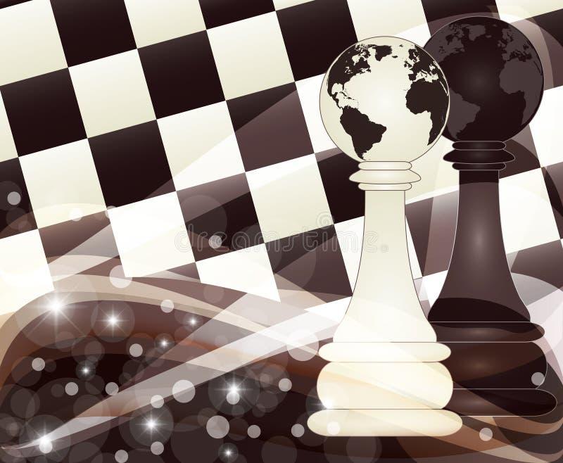 Το έμβλημα σκακιού με δύο βάζει ενέχυρο, διάνυσμα απεικόνιση αποθεμάτων