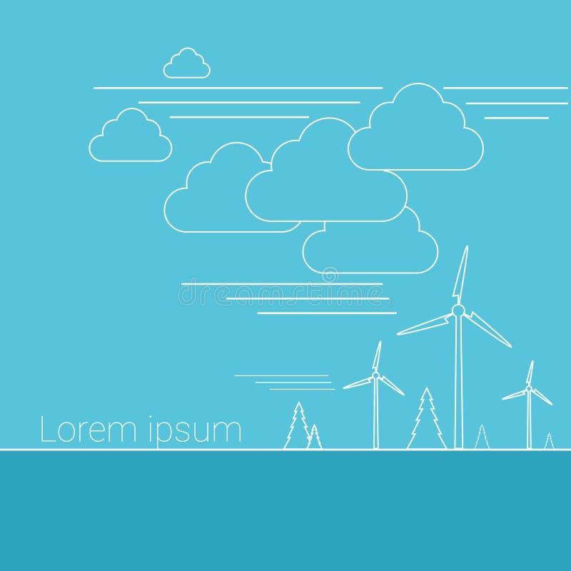 Το έμβλημα των πόρων εναλλακτικής ενέργειας ανεμοστροβίλων λεπταίνει τη γραμμή απεικόνιση αποθεμάτων