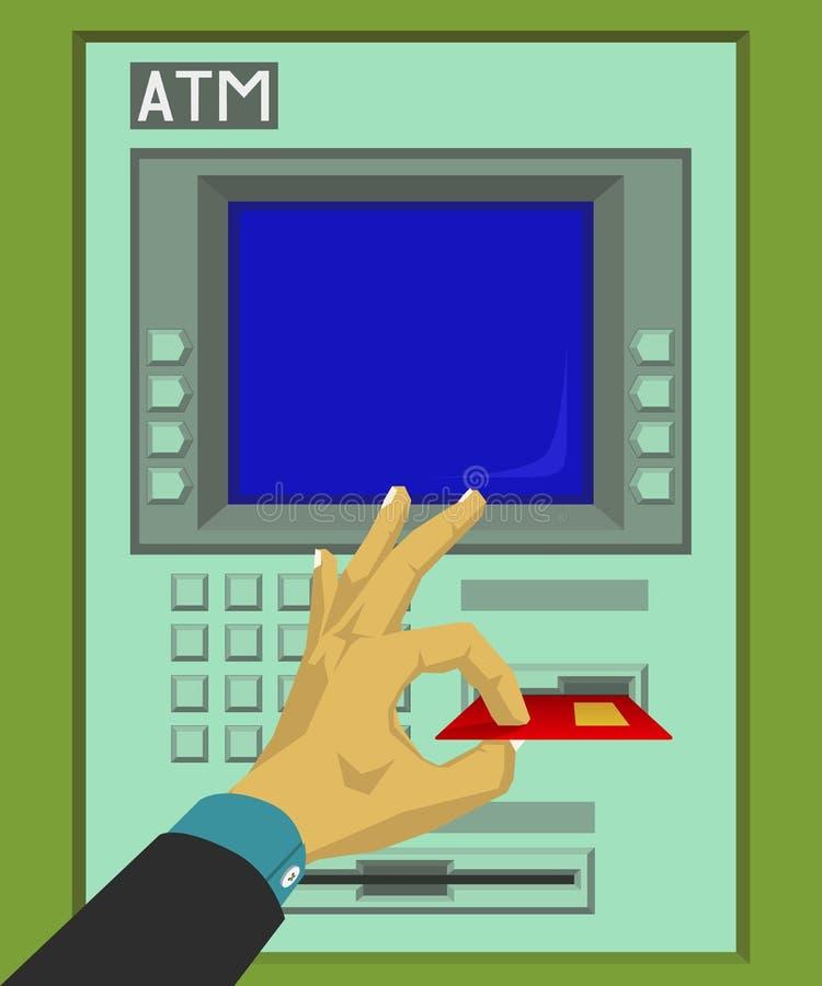Το ένθετο και αφαιρεί την κάρτα του ATM ελεύθερη απεικόνιση δικαιώματος