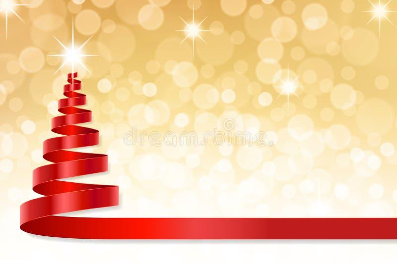 Το δέντρο κορδελλών Χριστουγέννων με χρυσό το υπόβαθρο διανυσματική απεικόνιση