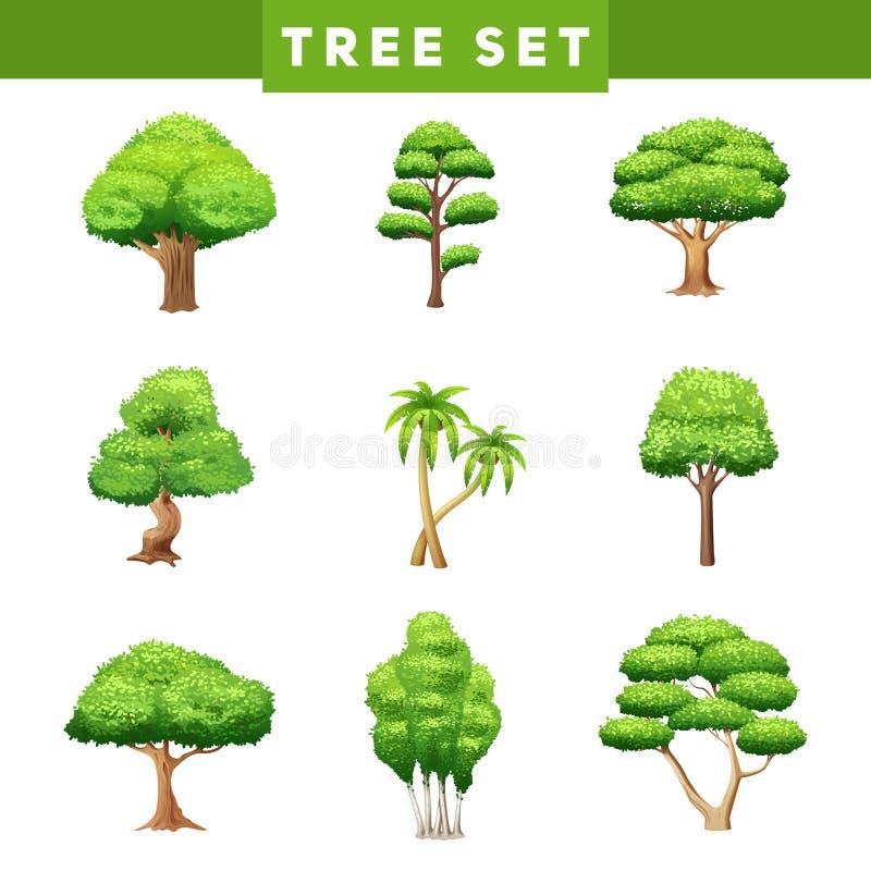 Το δέντρο στέφει τα επίπεδα εικονίδια καθορισμένα ελεύθερη απεικόνιση δικαιώματος
