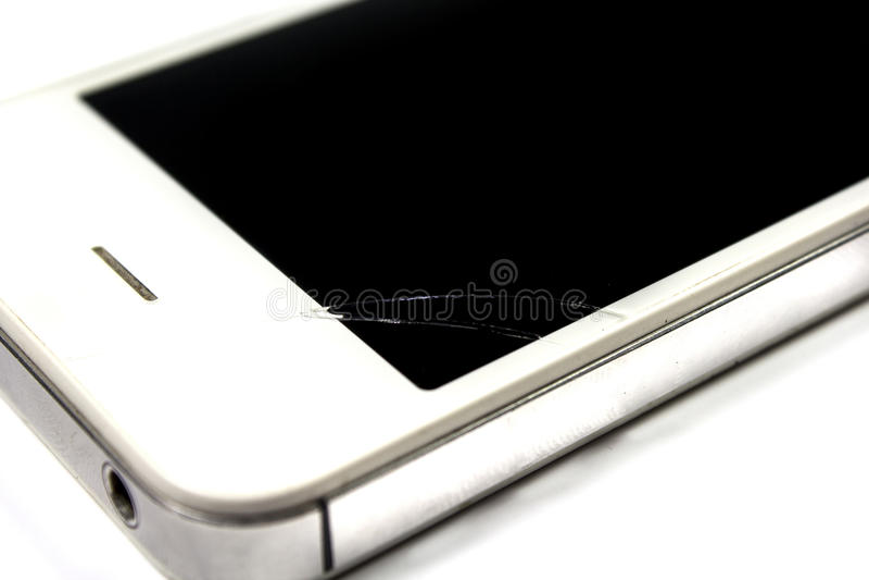Το έξυπνο τηλέφωνο είναι σπασμένο στην οθόνη στοκ φωτογραφίες με δικαίωμα ελεύθερης χρήσης