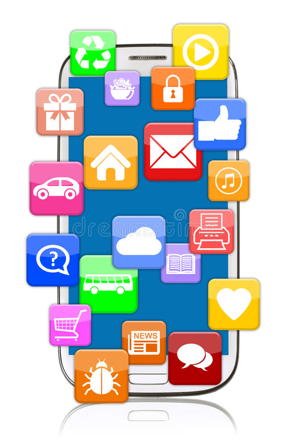 Το έξυπνο τηλέφωνο κινητό με την εφαρμογή apps app μεταφορτώνει για τον οικότροφο διανυσματική απεικόνιση