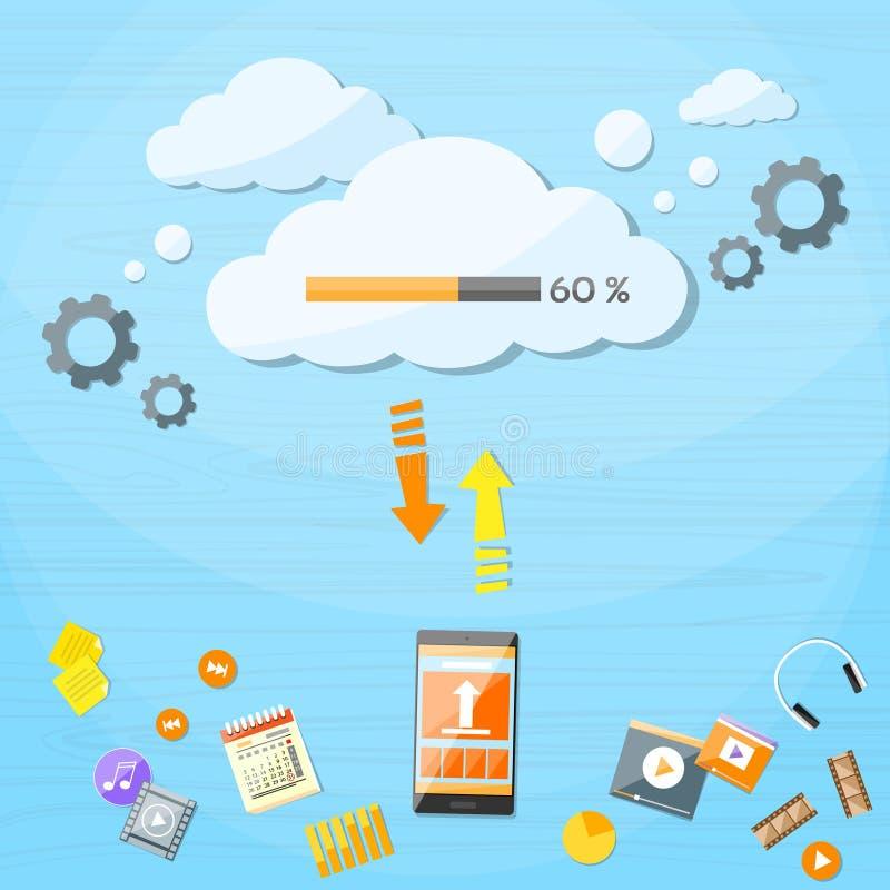 Το έξυπνο τηλεφωνικό σύννεφο κυττάρων φορτώνει τα σε απευθείας σύνδεση στοιχεία Διαδικτύου διανυσματική απεικόνιση