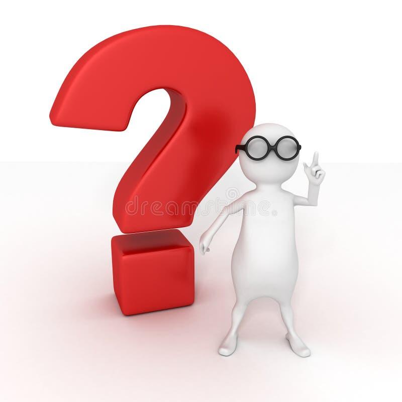 Το έξυπνο τρισδιάστατο άτομο απαντά στο κόκκινο ερωτηματικό διανυσματική απεικόνιση