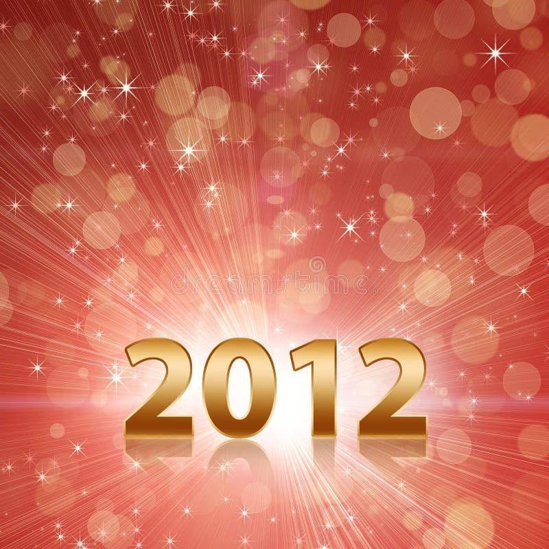 Το έτος 2012 γιορτάζει την κόκκινη αφηρημένη ανασκόπηση απεικόνιση αποθεμάτων