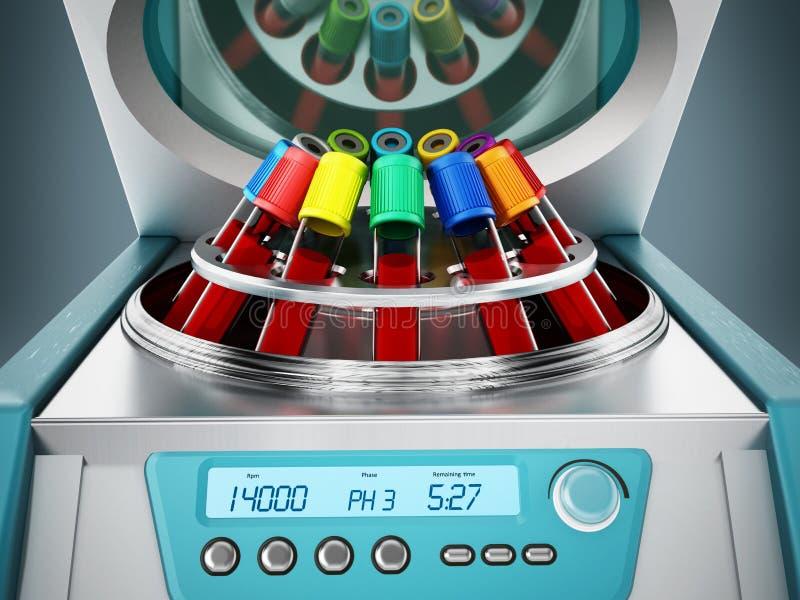 Το αίμα υποβάλλει τη μηχανή με το σύνολο σωλήνων δοκιμής των δειγμάτων αίματος σε φυγοκέντρωση τρισδιάστατη απεικόνιση ελεύθερη απεικόνιση δικαιώματος