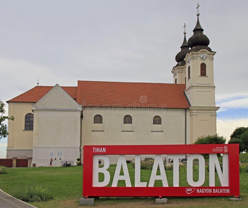 Το αβαείο Tihany στη λίμνη Balaton, Ουγγαρία στοκ εικόνα