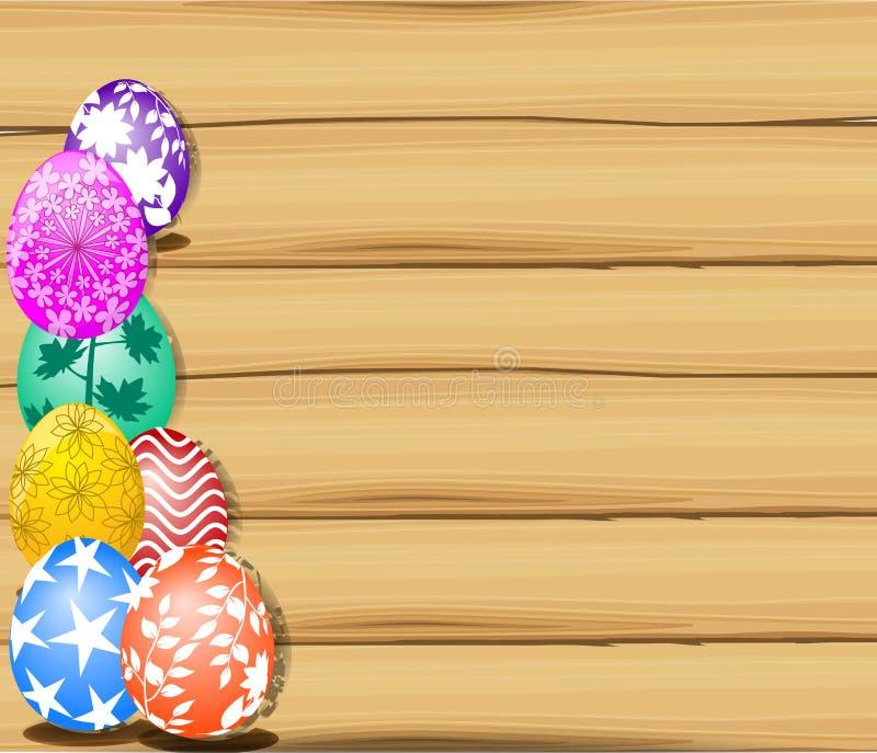 Το λαγουδάκι Πάσχας που κρατά ένα καλάθι των αυγών Πάσχας με τα περισσότερους αυγά Πάσχας και ξύλινο κάπρο σημαδιών ελεύθερη απεικόνιση δικαιώματος