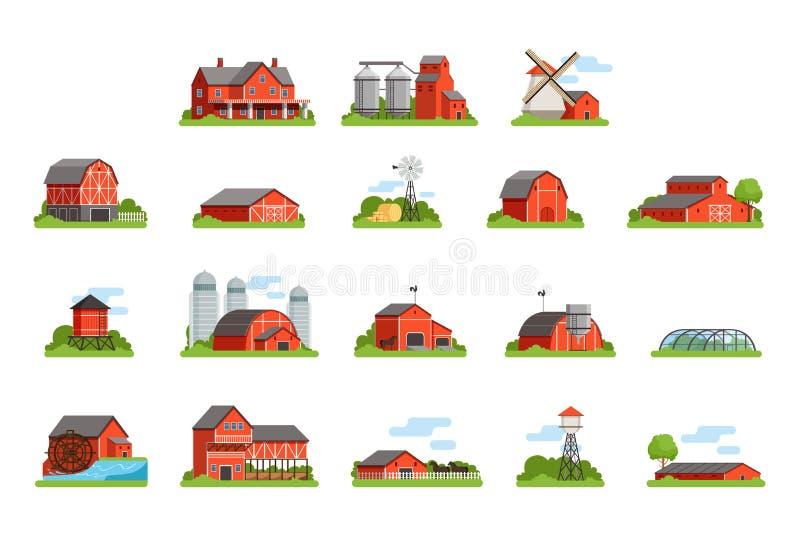 Το αγροτικές σπίτι και οι οικοδομήσεις θέτουν, βιομηχανία γεωργίας και διανυσματικές απεικονίσεις κτηρίων επαρχίας ελεύθερη απεικόνιση δικαιώματος