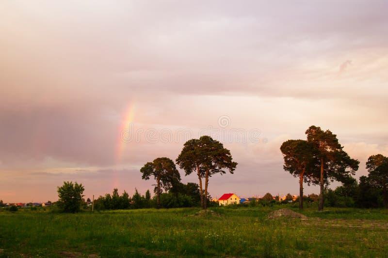 Το αγροτικό τοπίο με τα δέντρα, το ζωηρόχρωμους ουρανό και το ουράνιο τόξο στο ηλιοβασίλεμα στοκ φωτογραφία με δικαίωμα ελεύθερης χρήσης