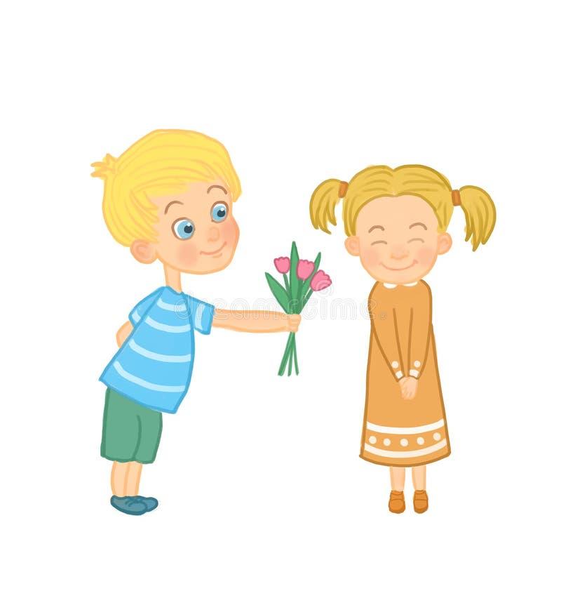 Το αγόρι δίνει τα λουλούδια στο κορίτσι ελεύθερη απεικόνιση δικαιώματος