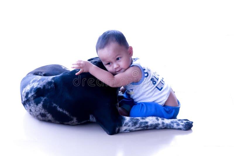 Το αγόρι αγκαλιάζει το σκυλί στοκ εικόνα