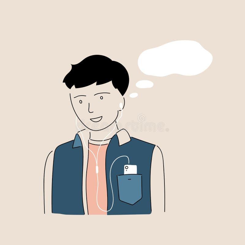 Το αγόρι ακούει μουσική με τα ακουστικά Αστείο σχέδιο χαρακτήρα αγοριών Διανυσματική συρμένη χέρι doodle απεικόνιση στοκ φωτογραφίες