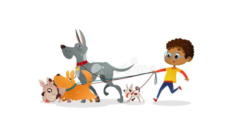 Το αγόρι αφροαμερικάνων κρατά έναν σκυλί-μόλυβδο και φροντίζει τα κατοικίδια ζώα Το παιδί περπατά τα σκυλιά στο λουρί κατά μήκος  ελεύθερη απεικόνιση δικαιώματος