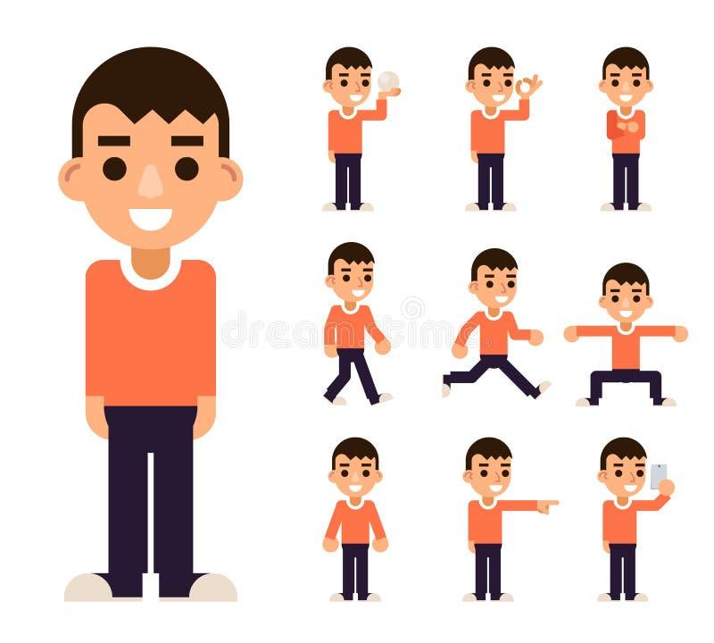 Το αγόρι εφήβων σε διαφορετικό θέτει και τα εικονίδια χαρακτήρων ενεργειών καθορισμένα απομόνωσαν το επίπεδο σχέδιο διανυσματική  απεικόνιση αποθεμάτων