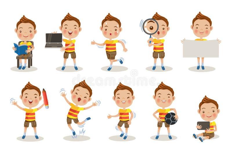 Το αγόρι θέτει διανυσματική απεικόνιση