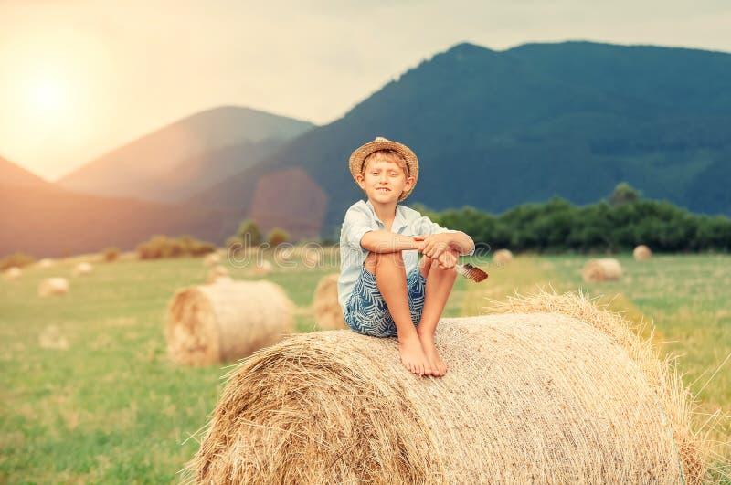Το αγόρι κάθεται στην κορυφή θυμωνιών χόρτου στοκ φωτογραφίες με δικαίωμα ελεύθερης χρήσης