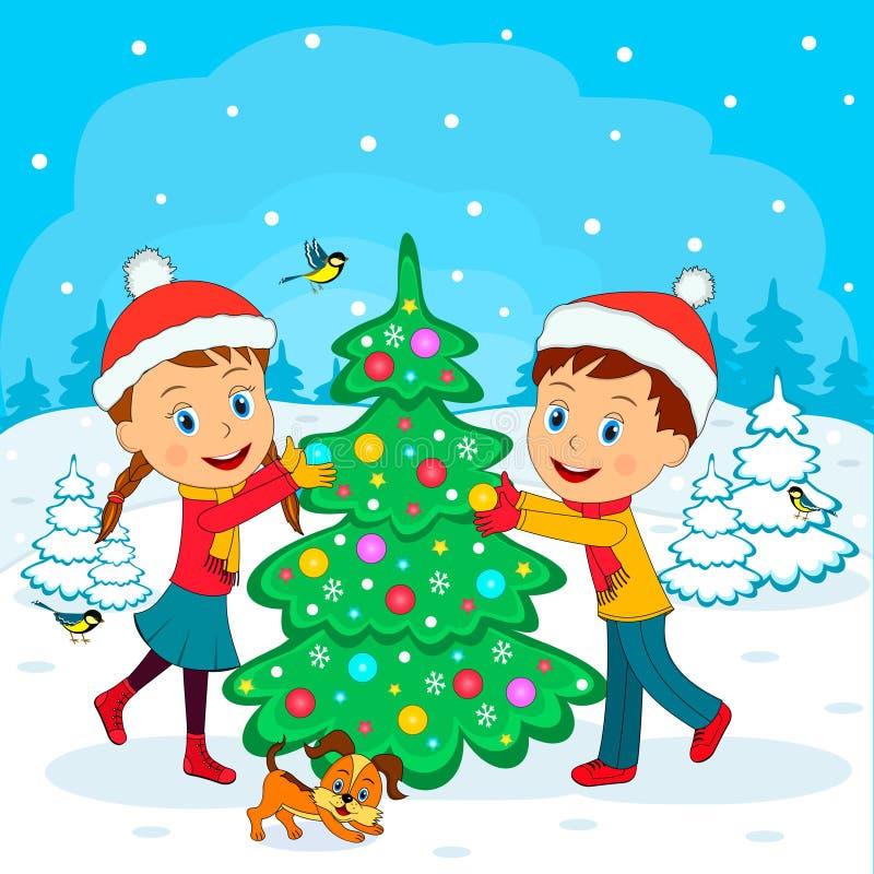 Το αγόρι και το κορίτσι διακοσμούν το χριστουγεννιάτικο δέντρο ελεύθερη απεικόνιση δικαιώματος