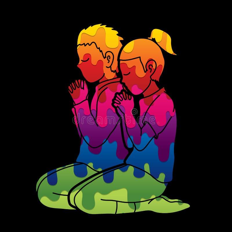 Το αγόρι και το κορίτσι προσεύχονται μαζί, προσευχή, τα χριστιανικά προσευμένος παιδιά προσεύχονται με το Θεό διανυσματική απεικόνιση