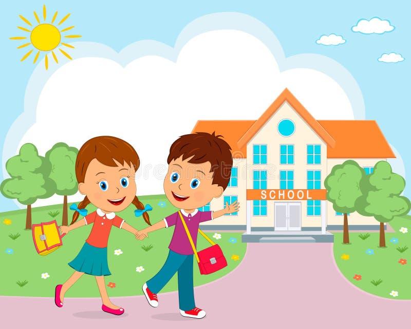 Το αγόρι και τα κορίτσια πηγαίνουν στο σχολείο απεικόνιση αποθεμάτων