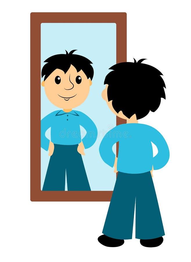 Το αγόρι κοιτάζει σε έναν καθρέφτη ελεύθερη απεικόνιση δικαιώματος