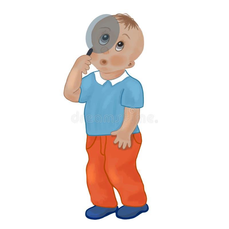 Το αγόρι κοιτάζει στον πιό magnifier διανυσματική απεικόνιση