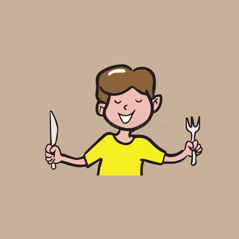 Το αγόρι κρατά τα κινούμενα σχέδια δικράνων και μαχαιριών σύροντας 1 διανυσματική απεικόνιση