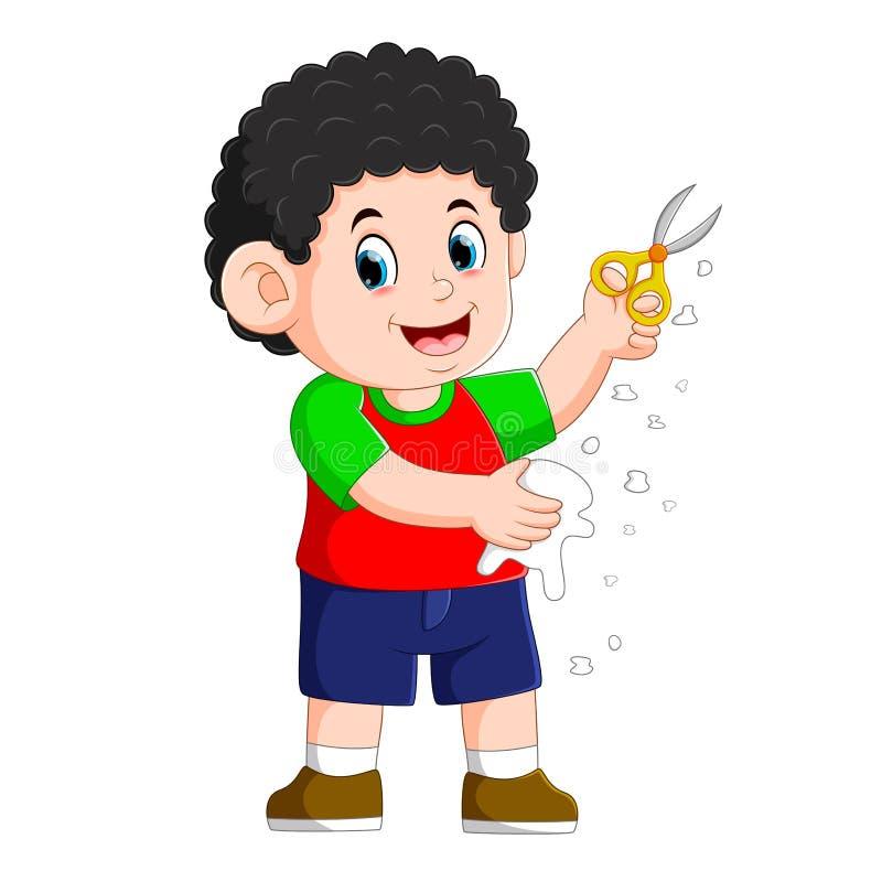 το αγόρι κρατά το ψαλίδι για να κόψει το έγγραφο απεικόνιση αποθεμάτων