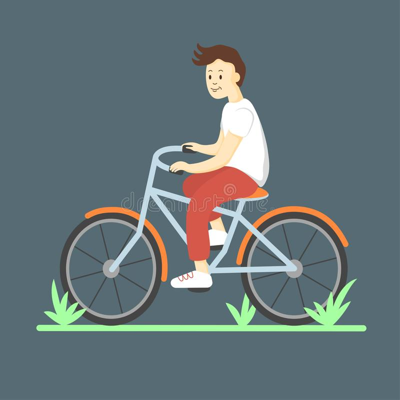 Το αγόρι οδηγά ένα ποδήλατο επίπεδος διανυσματική απεικόνιση