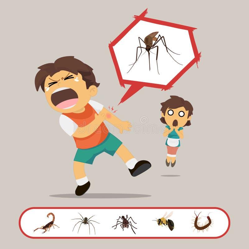 Το αγόρι παίρνει δαγκωμένο από τα έντομα διανυσματική απεικόνιση
