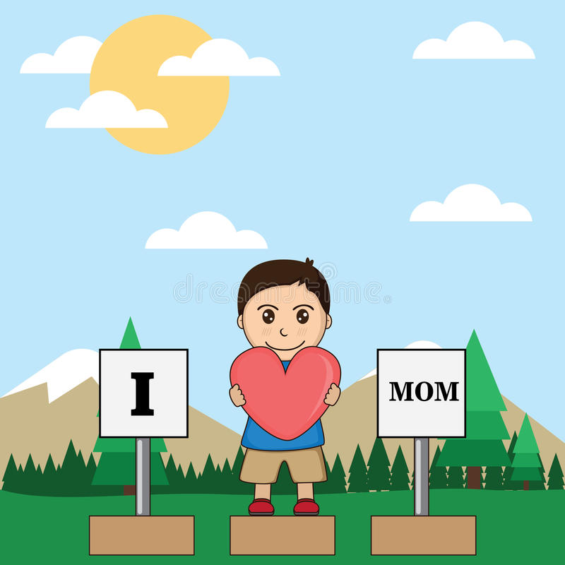 Το αγόρι παρουσιάζει αγάπη του για τη μητέρα στοκ εικόνες με δικαίωμα ελεύθερης χρήσης
