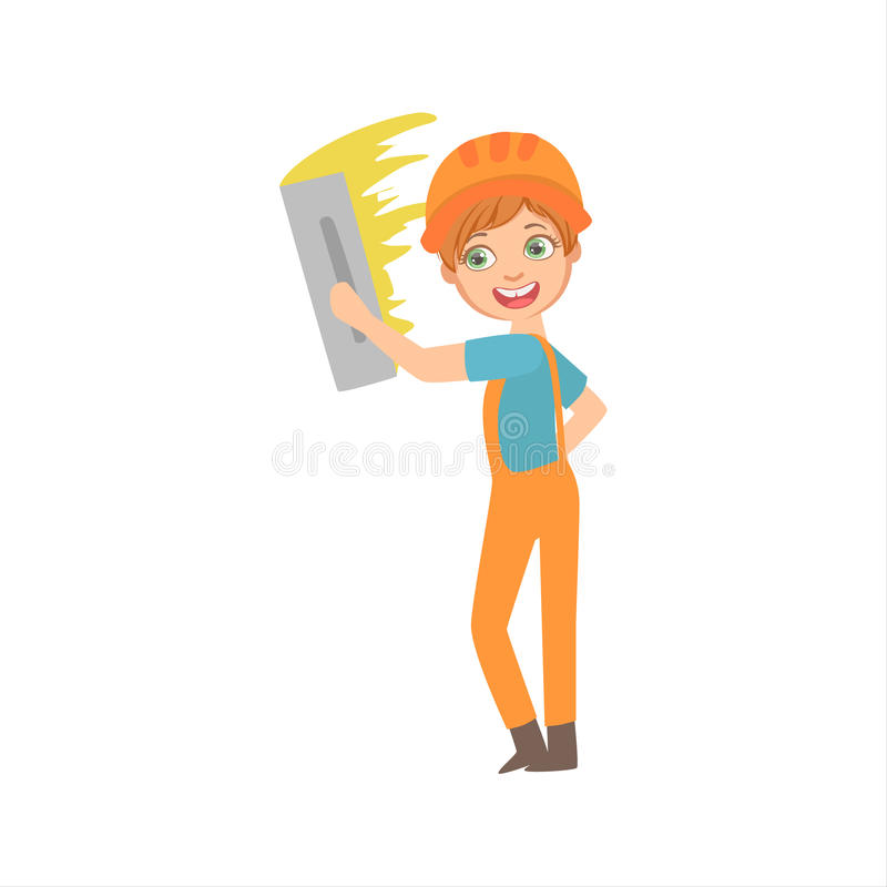 Το αγόρι που ευθυγραμμίζει τους τοίχους με το μαχαίρι παλετών, παιδί έντυσε ως οικοδόμος στο μελλοντικό σύνολο επαγγέλματος ονείρ απεικόνιση αποθεμάτων