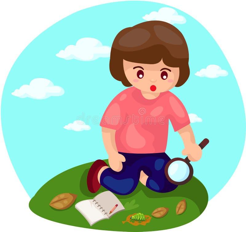 Το αγόρι που κάνει την ερευνητική μελέτη με ενισχύει απεικόνιση αποθεμάτων