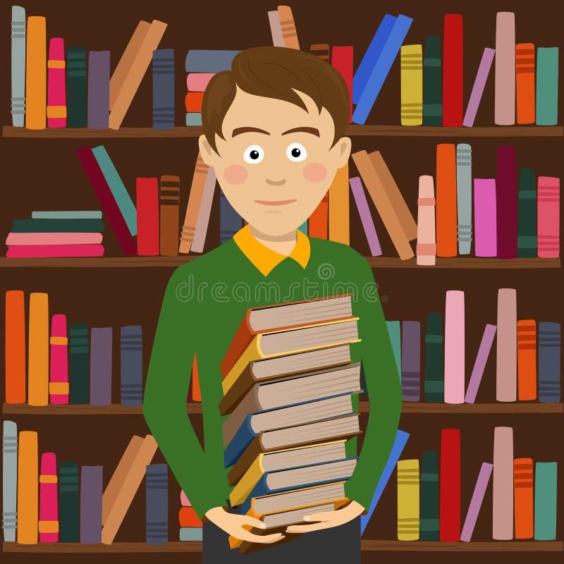 Το αγόρι σπουδαστών κρατά το σωρό των βιβλίων που στέκονται ενάντια στο ράφι στη βιβλιοθήκη ελεύθερη απεικόνιση δικαιώματος