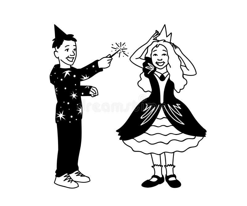Το αγόρι στο εορταστικό καπέλο κρατά τη μαγική ράβδο στο χέρι του και το κορίτσι στο φόρεμα διορθώνει την κορώνα στο κεφάλι της Ε διανυσματική απεικόνιση