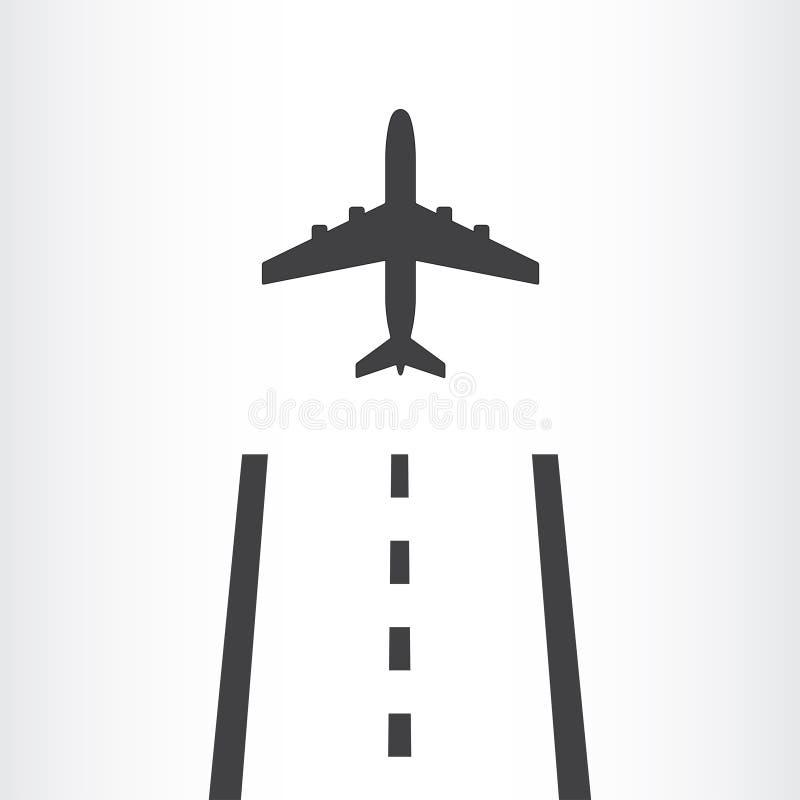 Το αεροπλάνο απογειώνεται από ένα εικονίδιο διαδρόμων που απομονώνεται στο άσπρο υπόβαθρο Το αεροπλάνο προσγειώνεται μακρυά από τ ελεύθερη απεικόνιση δικαιώματος