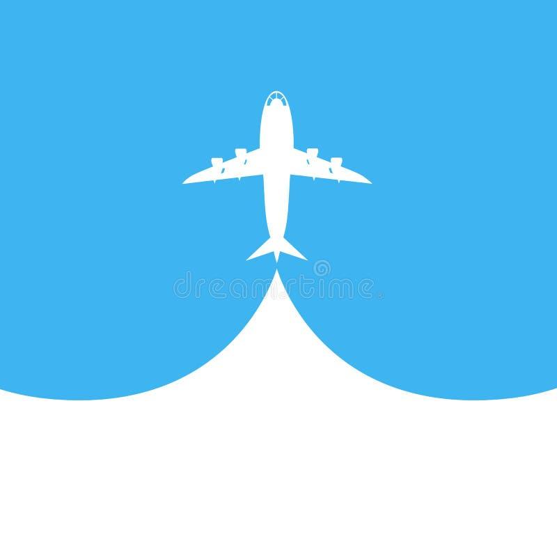 Το αεροπλάνο απογειώνεται στο μπλε υπόβαθρο επίσης corel σύρετε το διάνυσμα απεικόνισης ελεύθερη απεικόνιση δικαιώματος