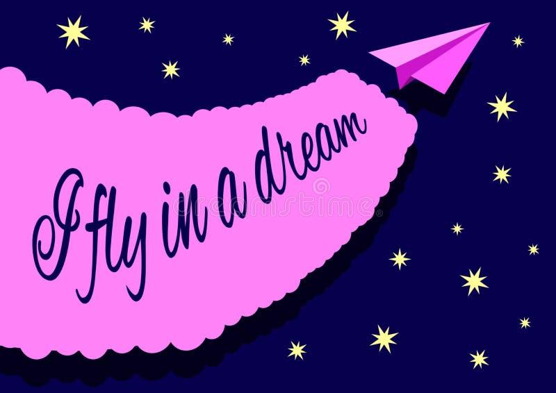 Το αεροπλάνο εγγράφου άφησε ένα σημάδι στον έναστρο ουρανό νύχτας με την επιγραφή που πετώ σε ένα όνειρο διανυσματική απεικόνιση