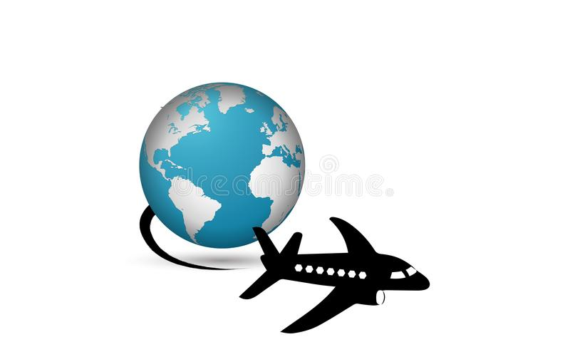 Το αεροπλάνο λογότυπων ταξιδιού ταξιδεύει σε όλο τον κόσμο διανυσματική απεικόνιση