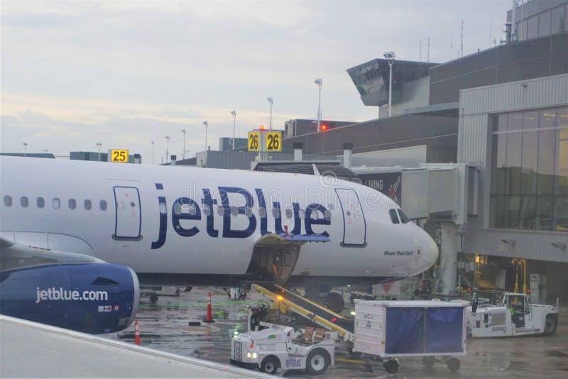 Το αεροπλάνο Jetblue ξεφορτώνει τις αποσκευές στο τερματικό στοκ εικόνα