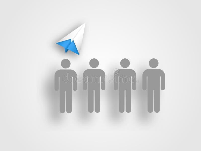 Το αεροπλάνο Origami επάνω από το ανθρώπινο επικεφαλής πρότυπο στο γκρίζο υπόβαθρο αντιπροσωπεύει την έννοια της ομαδικής εργασία στοκ εικόνες με δικαίωμα ελεύθερης χρήσης