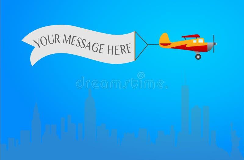 Το αεροπλάνο πετά με το μακρύ έμβλημα για το κείμενό σας σε ένα μπλε backgro διανυσματική απεικόνιση
