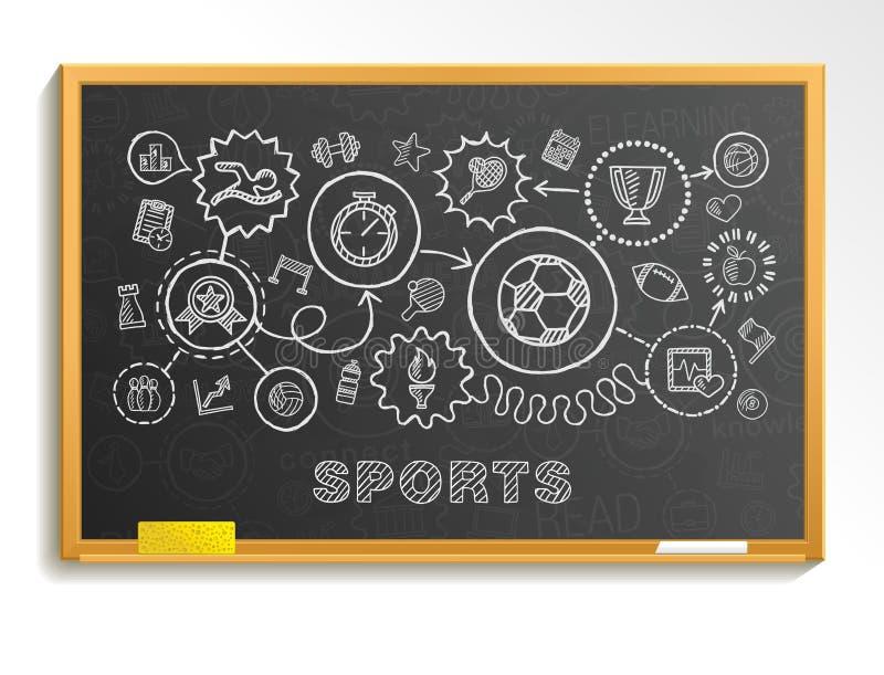 Το αθλητικό χέρι επισύρει την προσοχή τα ενσωματωμένα εικονίδια καθορισμένα στο σχολικό πίνακα διανυσματική απεικόνιση