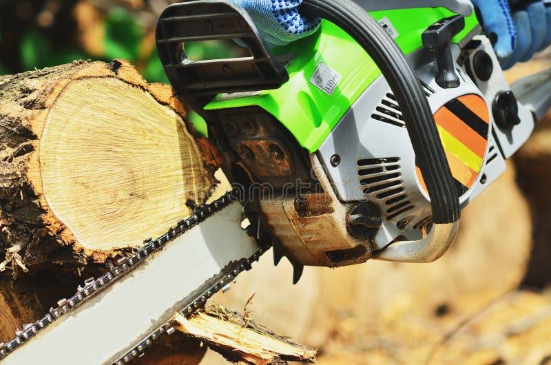 Το αλυσιδοπρίονο φθάνει στο τέλος του ξύλου στοκ φωτογραφίες