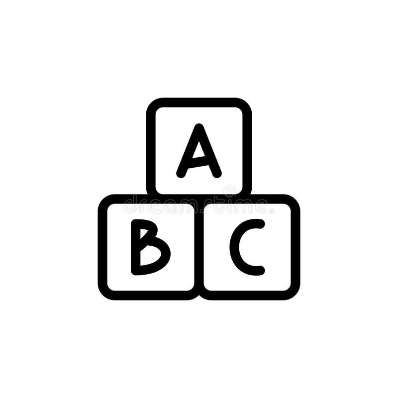 Το αλφάβητο κυβίζει το λεπτό εικονίδιο γραμμών Μωρό συμβόλων περιλήψεων που αναπτύσσει το παιχνίδι για το σχέδιο των παιδιών ` s  απεικόνιση αποθεμάτων