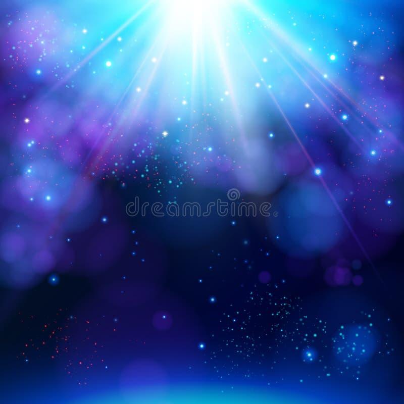 Το λαμπιρίζοντας μπλε εορταστικό αστέρι εξερράγη το υπόβαθρο ελεύθερη απεικόνιση δικαιώματος
