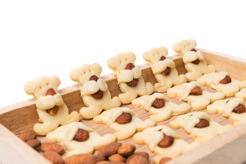 Το αμύγδαλο αφορά τα μπισκότα που απομονώνονται το λευκό στοκ εικόνες