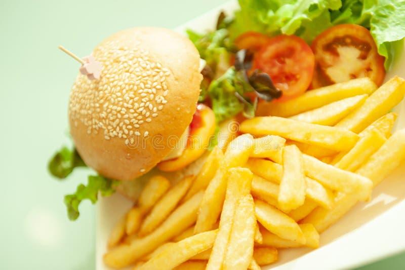 Το αναδρομικό εκλεκτής ποιότητας ύφος, χάμπουργκερ με τις τηγανιτές πατάτες στο άσπρο πιάτο, θόλωσε το πράσινο υπόβαθρο στοκ εικόνα